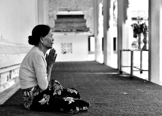 Broken Asian Woman Praying