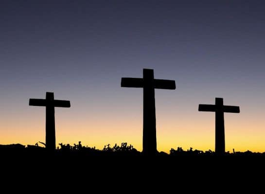 Three Crosses at Sunset